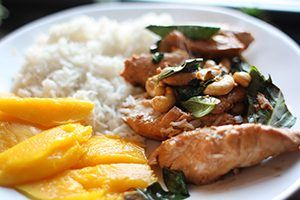 Basil Cashew Chicken with Coconut Rice