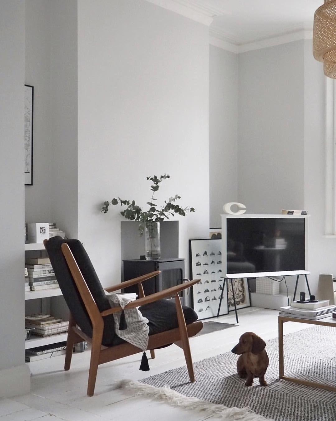 Light scandi interior, vintage mid century chair from eBay, Samsung serif TV