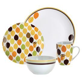 For Marielena Rachael Ray Dinnerware Little Hoot Dinnerware Place setting at MYHABIT  sc 1 st  Pinterest & Sixteen-piece porcelain dinnerware set with an owl-inspired motif ...