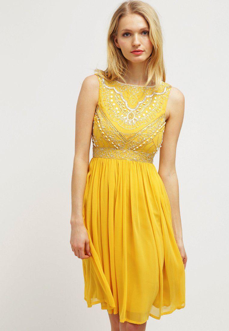Cocktailkleid / festliches Kleid - light mustard | Mustard, Frocks ...