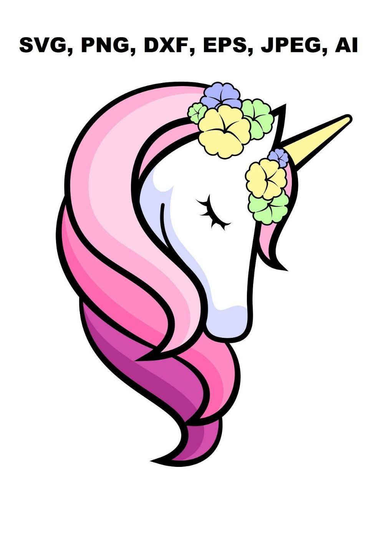 Purple unicorn svg, Unicorn head svg, unicorn svg, flower