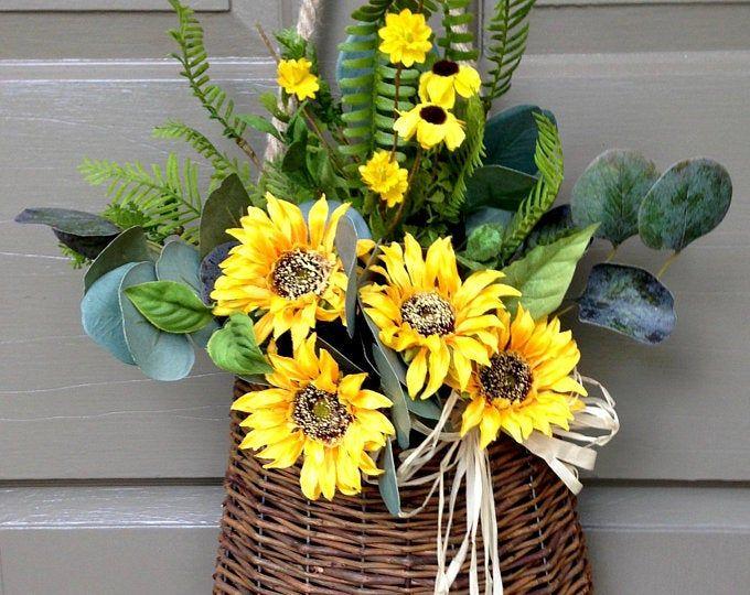 Photo of Sunflower Wreath, Spring Sunflower Wreath, Front Door Wreath, Sunflower Decor, Buffalo Check Sunflower Wreath.