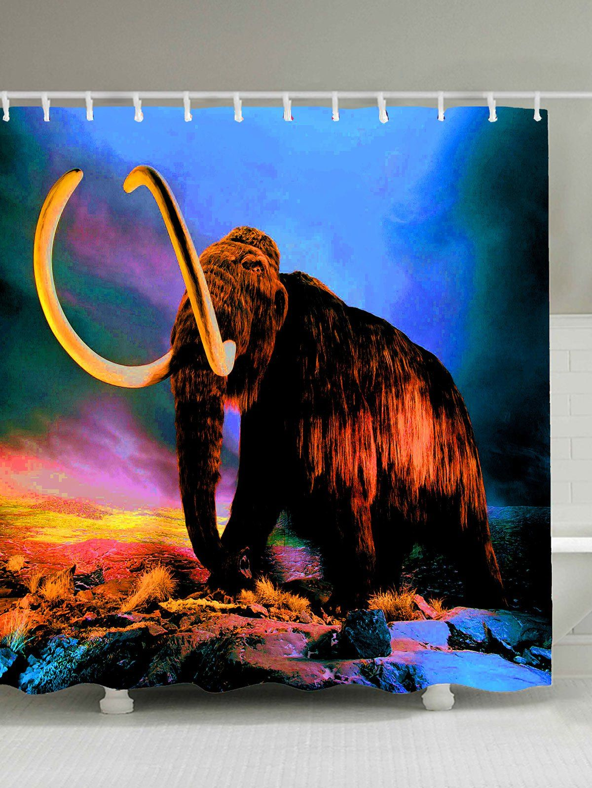 mammoth elephant print waterproof shower curtain brown on walls coveralls website id=51794