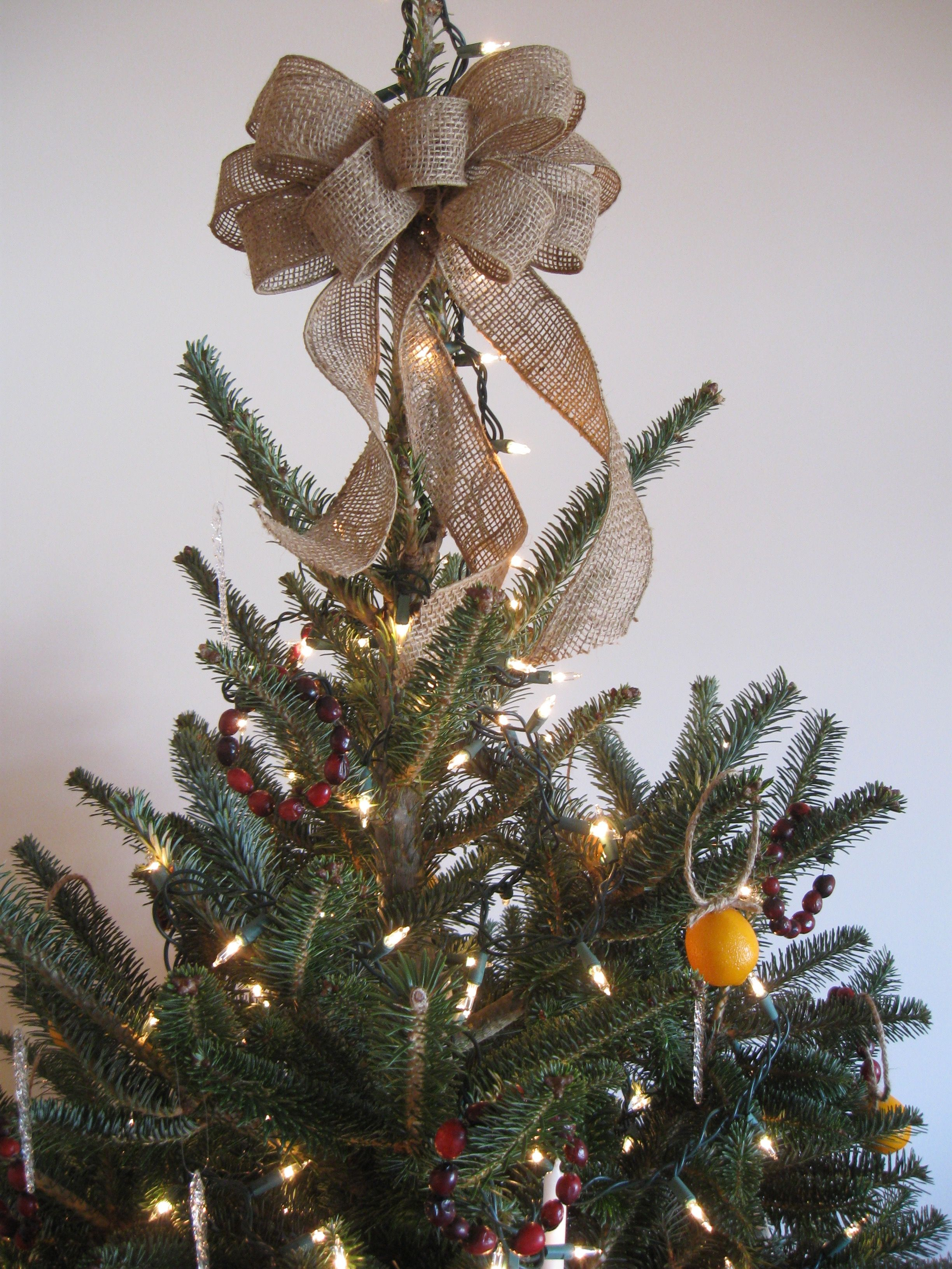 Burlap tree topper bow from The Rustic Raven at shop