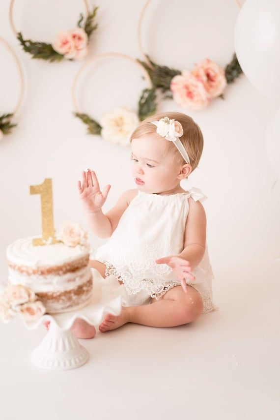 White Baby Romper – Halter Romper- Pink Baby Romper –  First Birthday Outfit – Eli birthday