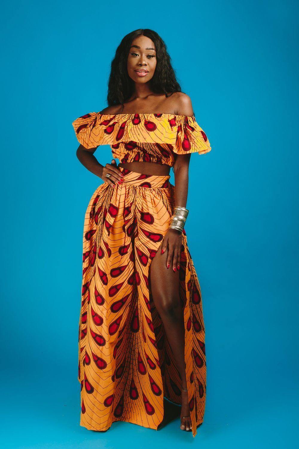 0eb89848a4 African print maxi skirt 2 side pockets Elastic at the back 100% cotton  Made with high quality African print wax fabric - Skirt measures  approximately 46 ...
