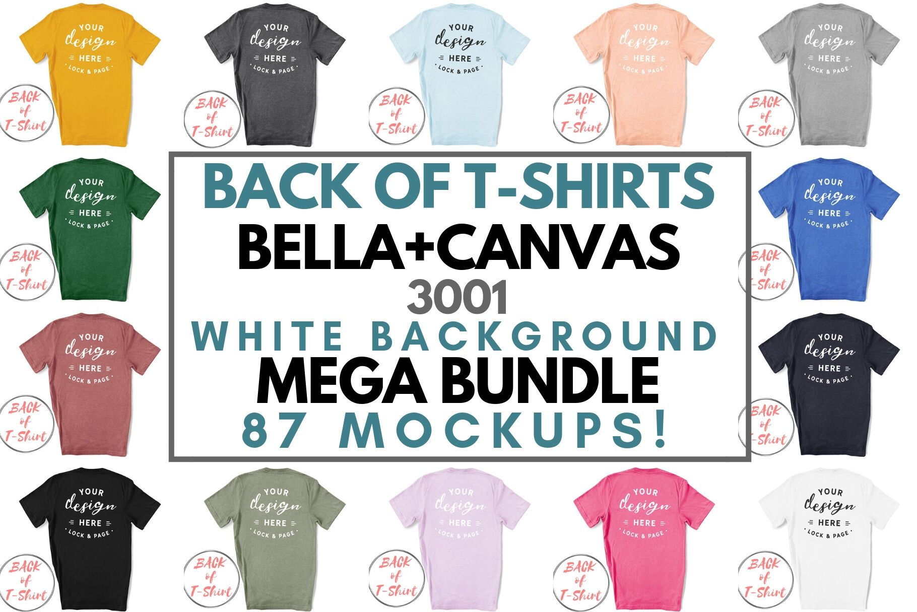 Back Of T Shirt Bella Canvas 3001 Unisex Mockup Mega Bundle On White By Lock And Page Thehungry In 2020 Psd Mockup Template Free Psd Mockups Templates Mockup Template