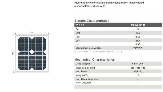 Solar Panel 10w Monocrystalline Solar Panels Solar Photovoltaic Module