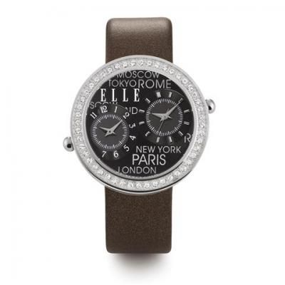 ELLE Black dial dual time watch with crystal bezel and grey strap