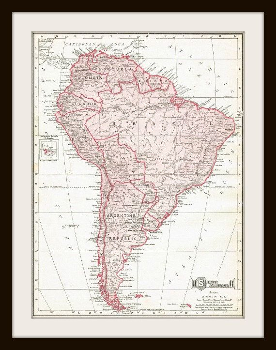 1911 Antique Map SOUTH AMERICA Buy 3 Get 1 FREE by
