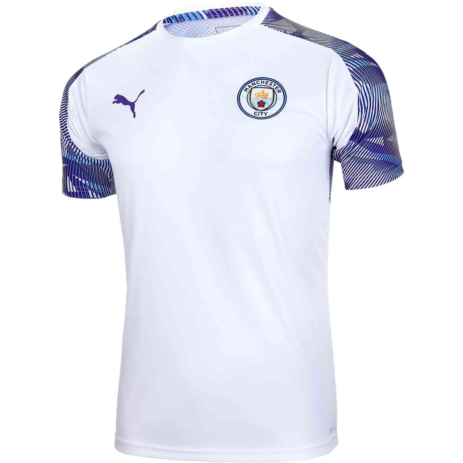 Puma Manchester City Training Jersey White Tillandsia Purple Soccerpro Manchester City Training Tops Clothes