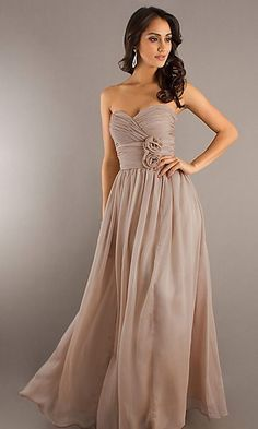 Strapless Brown Prom Dress