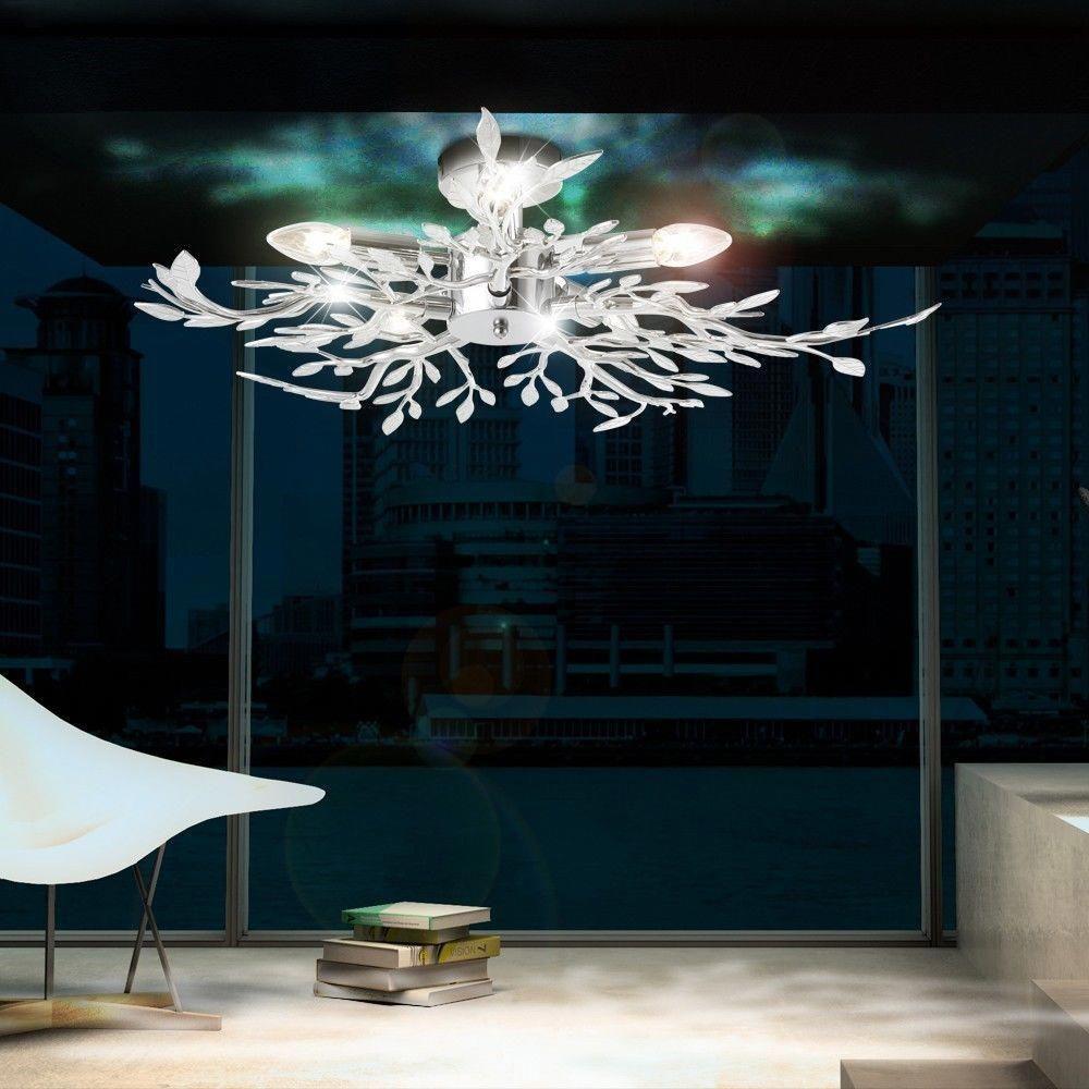 Decken Leuchte Beleuchtung Acryl Blatter Verchromt Wohnzimmer Lampe