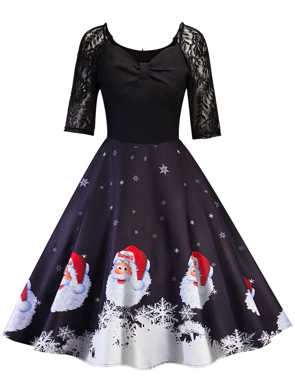 07934e6325 Vintage Santa Claus Print Pin Up Christmas Dress - BLACK L