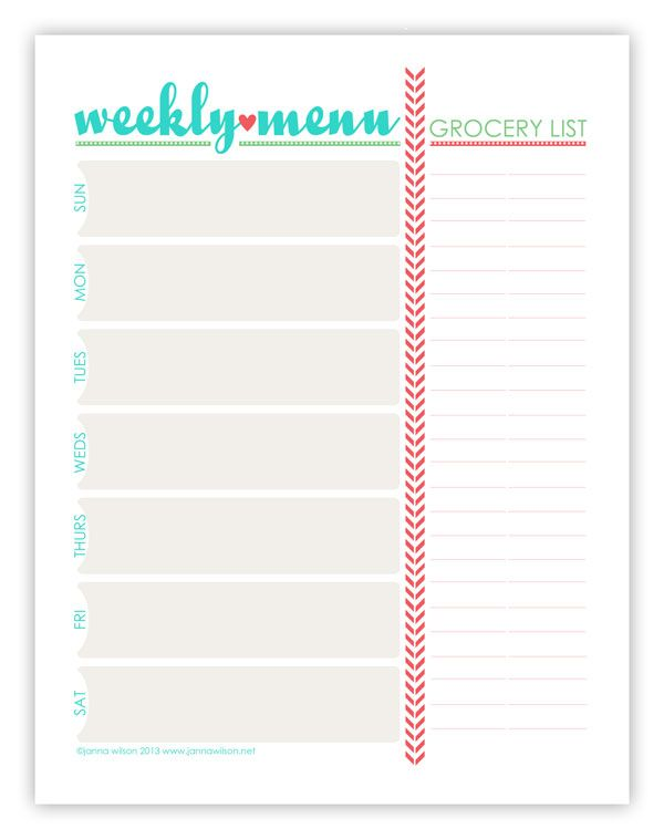 Menu Plan Monday  July   Weekly Menu Planners Menu