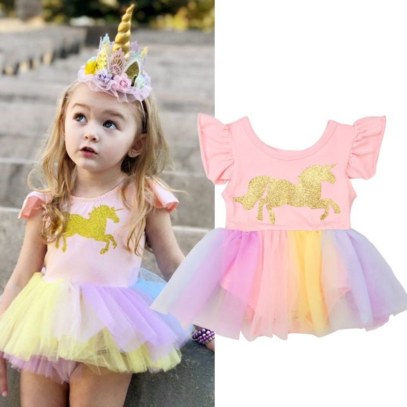 f0e9956b35332 Baby Girls 3D Unicorn Beading Floral Mesh Lace Tutu Sleeveless ...