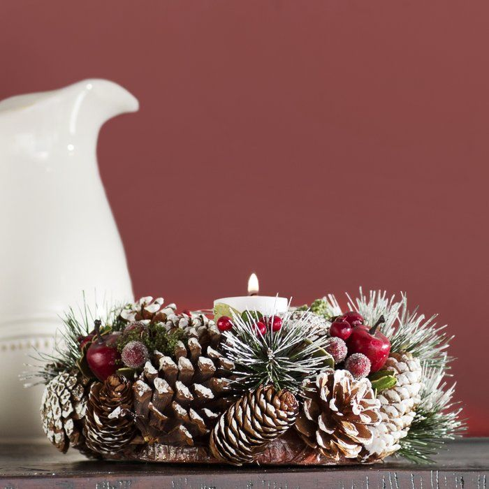 341f46353699 Pinecone Candle Wreath Centerpiece   Holiday   Thanksgiving ...