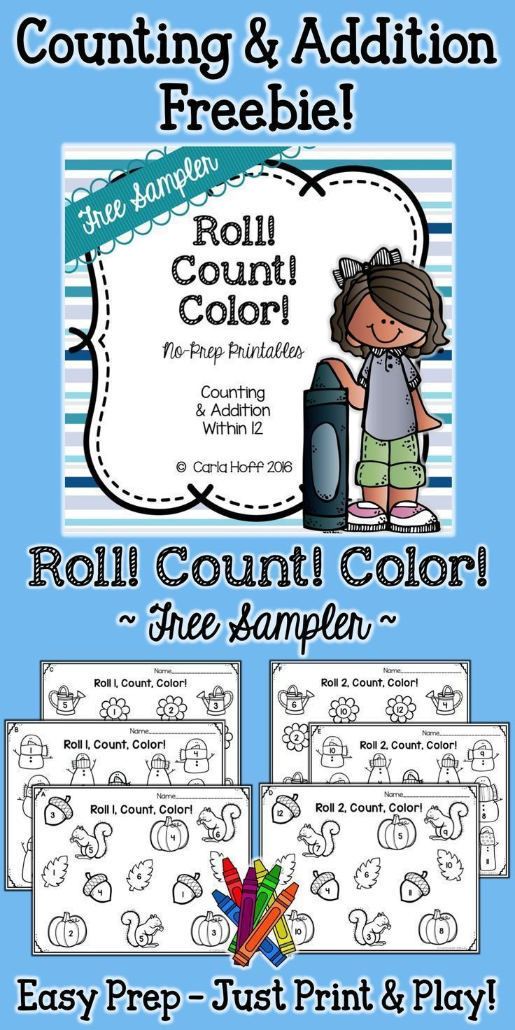 Roll! Count! Color! Counting & Addition Within 12 Free Sample | K ...