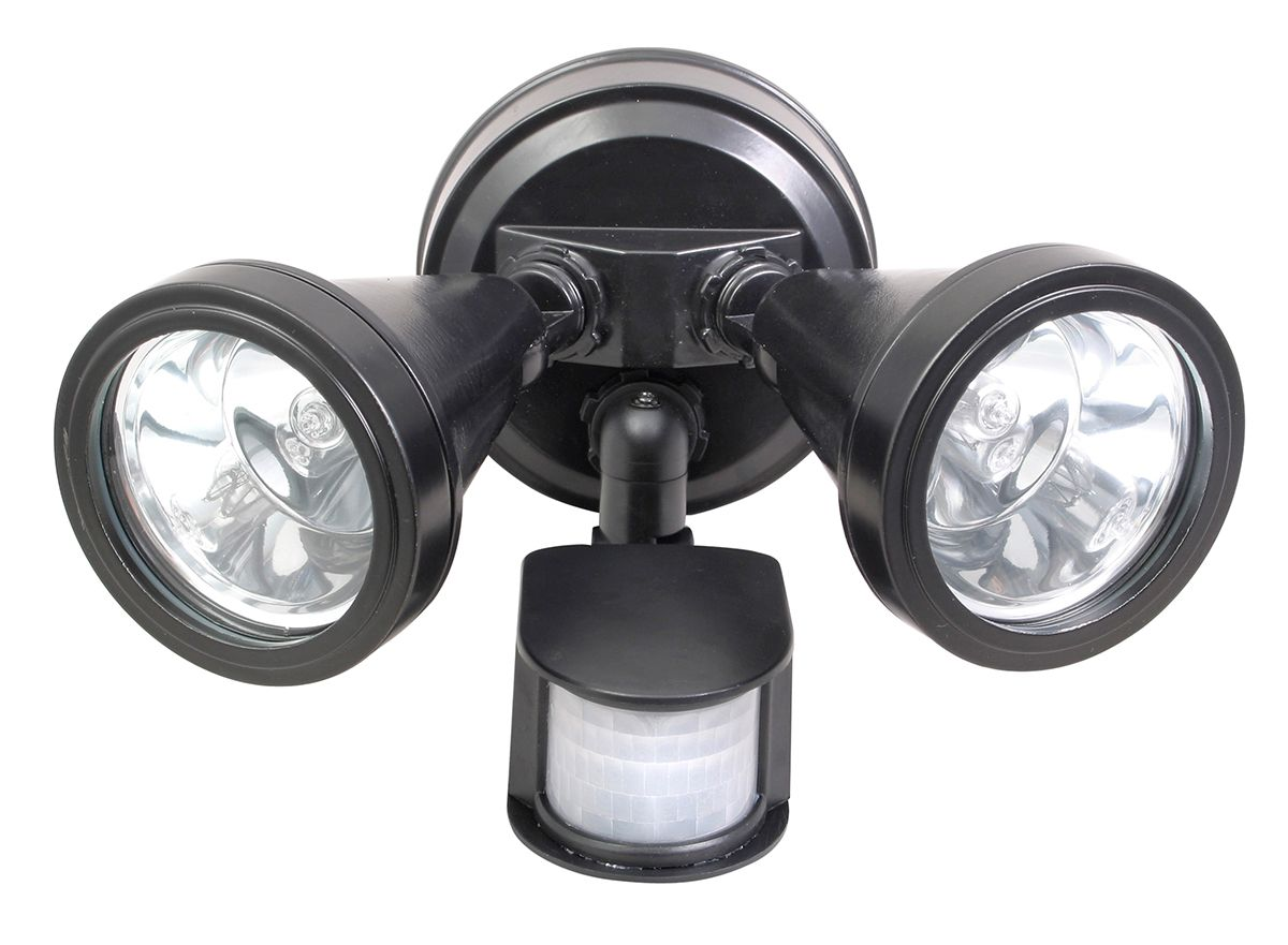 Secura Double Floodlight with Sensor in Black