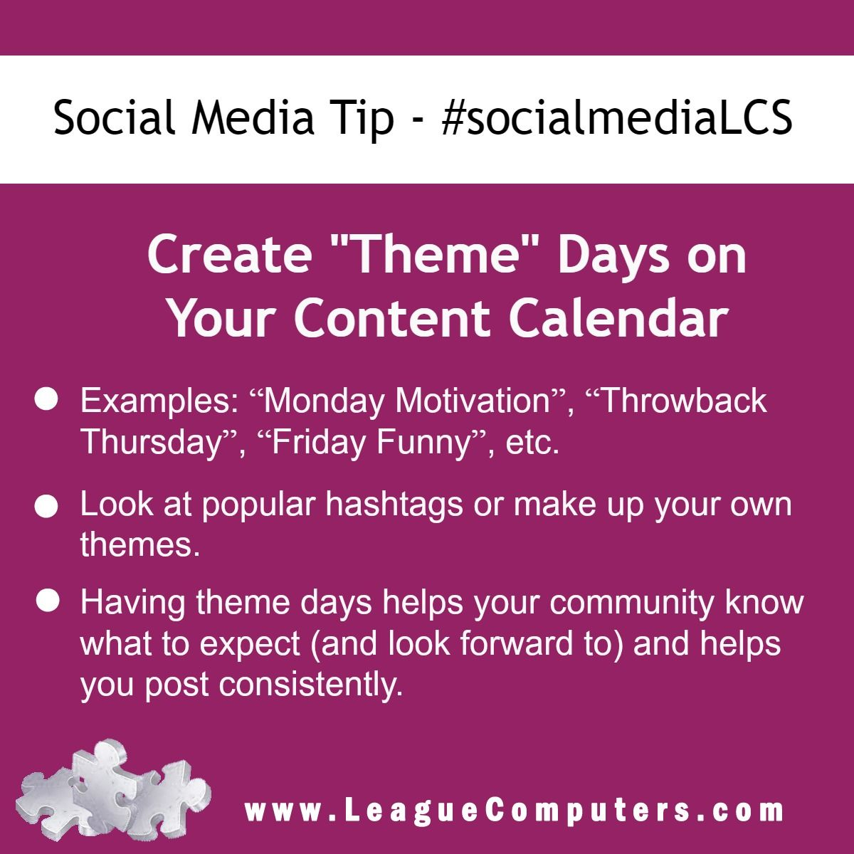 Social Media Tip Create Theme Days On Your Content Calendar