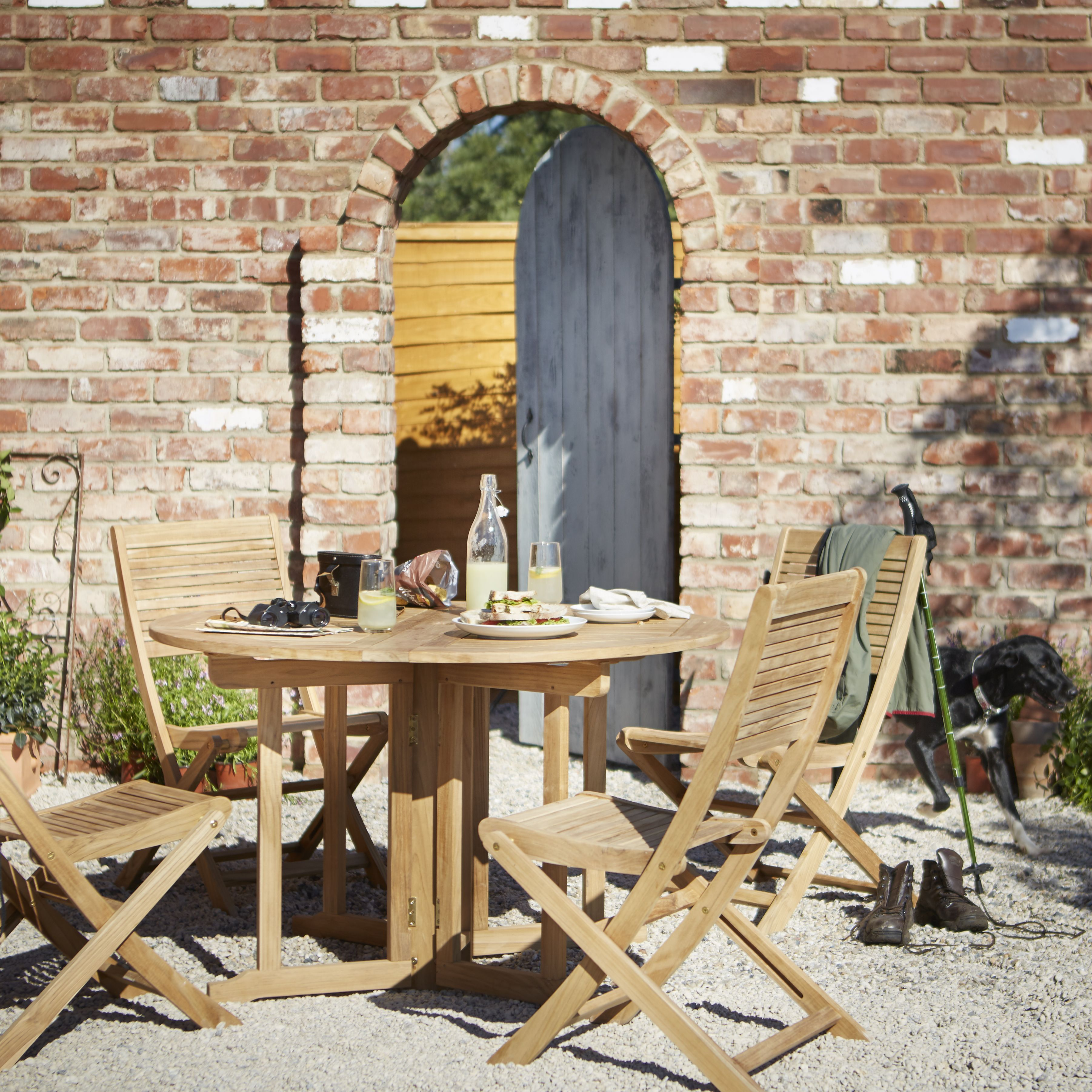 Superieur Roscana Teak Wooden 4 Seater Dining Set | Departments | DIY At Bu0026Q