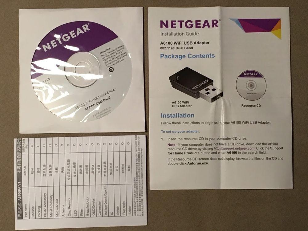 NETGEAR A6100-100PAS CD DISK WIRELESS AC MINI WITHOUT USB
