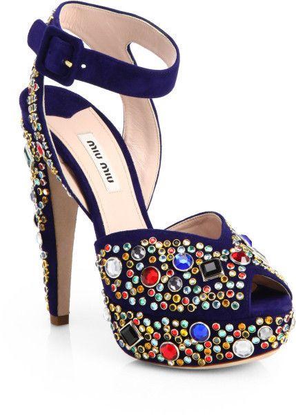 10cf0528f82d Donna Jeweled Suede Platform Sandals - Lyst. Miu ...