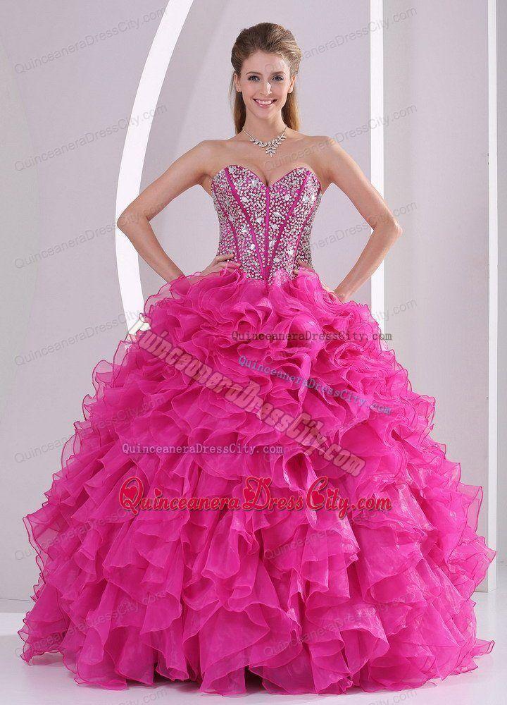 b4a76748c4c Designer Full Beaded Corset Quinceanera Dress with Fuchsia Ruffles ...