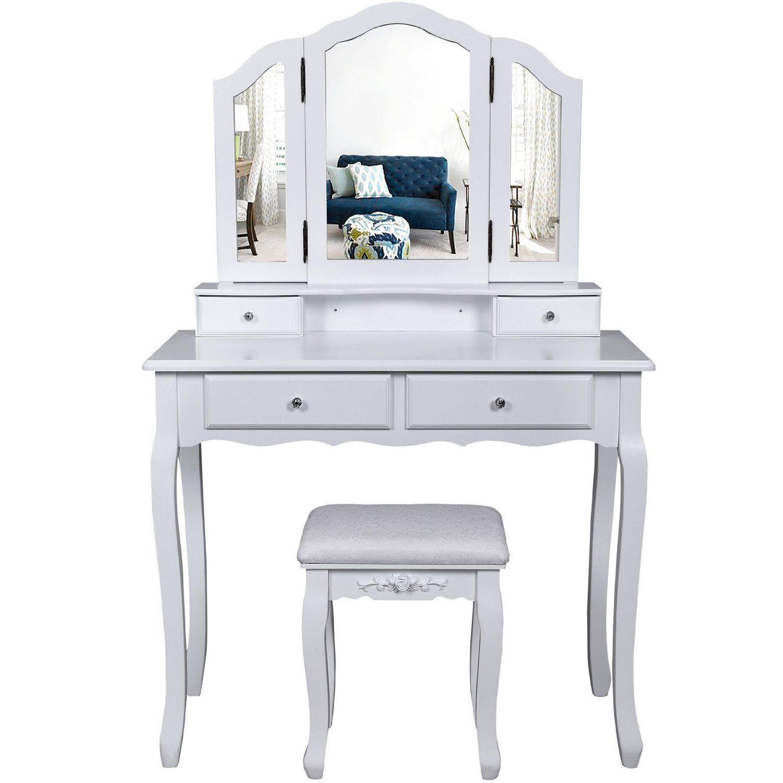 Songmics specchiera tavolo cosmetici mobile da trucco da toeletta con sgabello com con specchio - Mobile toilette trucco ...