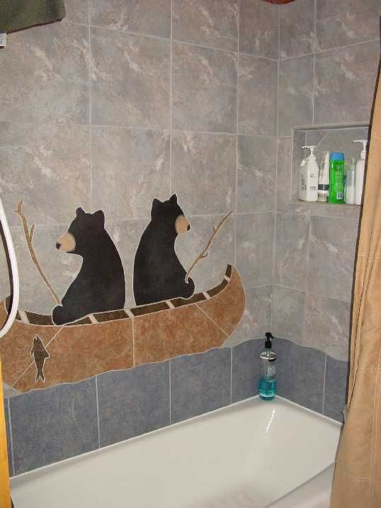 Shower tile with bears fishing from their canoe awesome for Cabin shower tile ideas