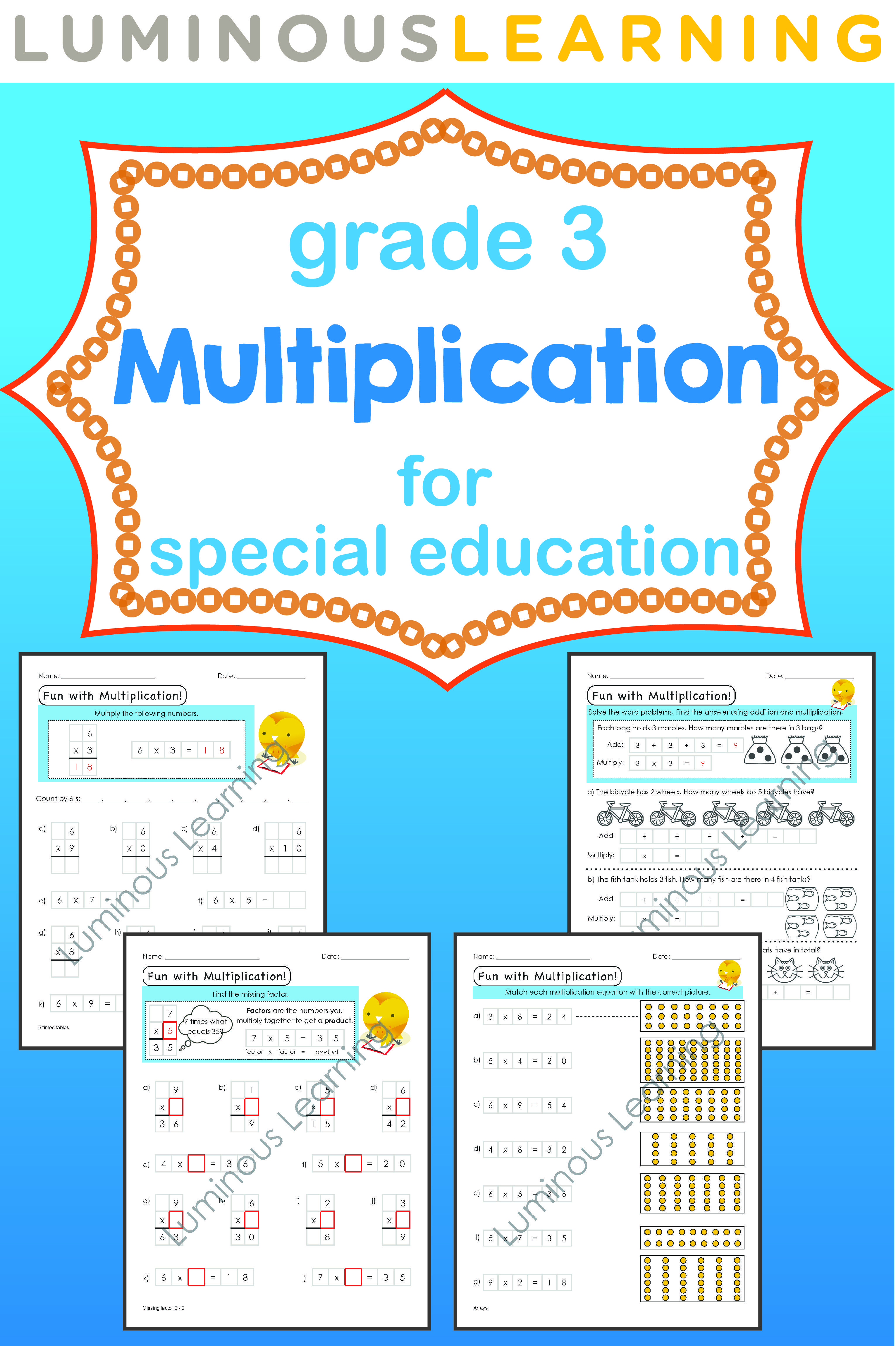 Grade 3 Multiplication Printable Workbook | Visual aids, Graph paper ...