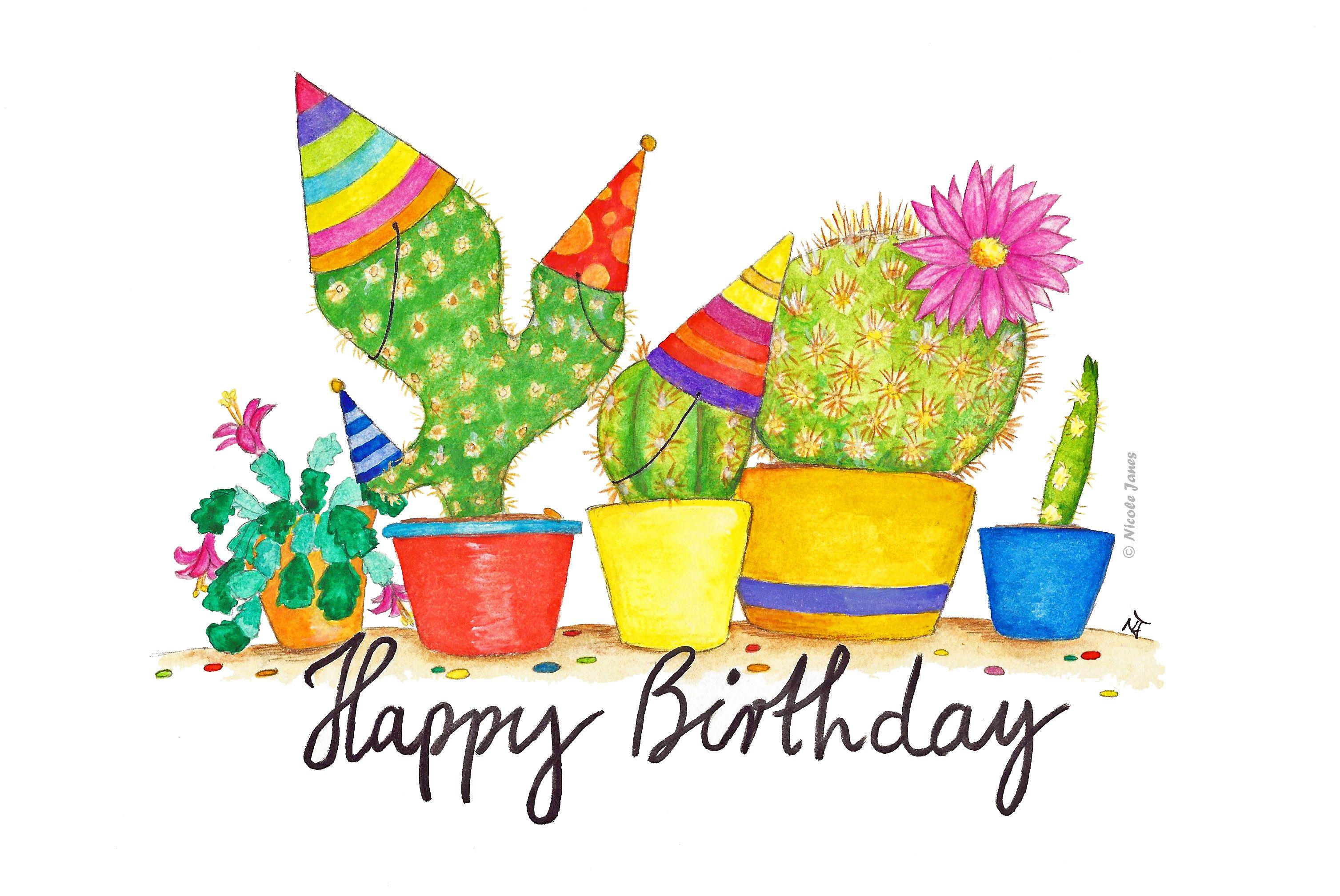 'Cactus Birthday greeting card by Nicole Janes' Greeting