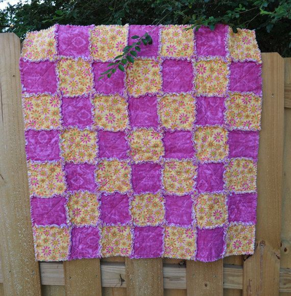 Girl Rag Quilt. Bright pink marbled flannel by SewBlessedbyLisa