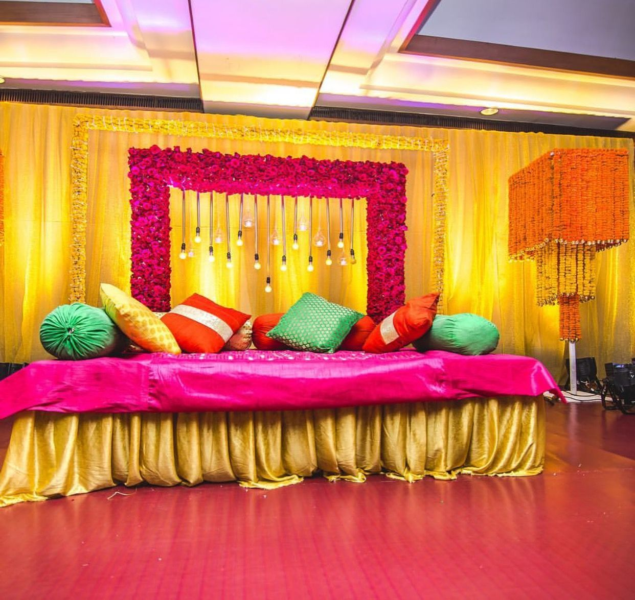Pin by patrice lee on indian wedding pinterest mehndi for Indoor stage decoration