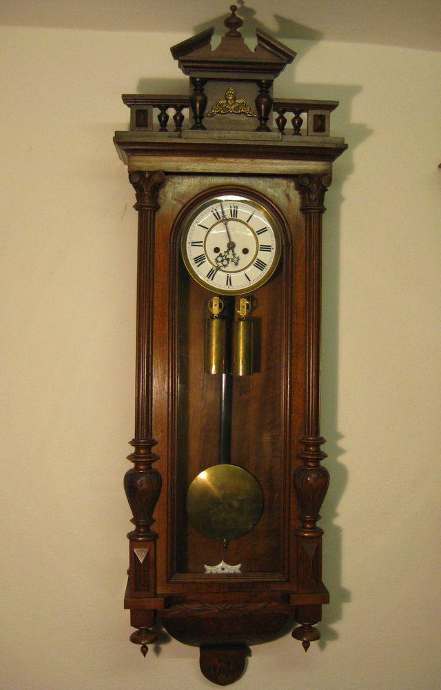 Antique German Gustav Becker Wall Clock 2 Weight Vienna Regulator Circa 1872 Antique Clocks Wall Clock Grandfather Clock