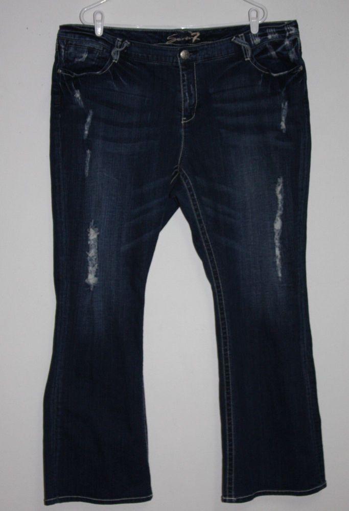 a9b6bce4177 Seven7 Seven 7 Size 24 Distressed Bootcut Denim Jeans  Seven7  BootCut   Jeans  plussize  fashion  denim  distressed