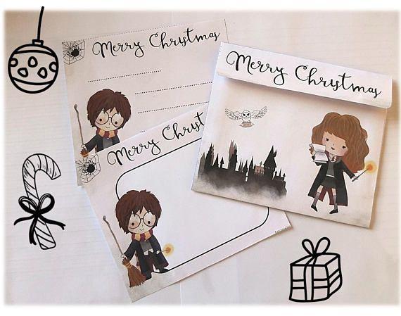 Carte de vœux Noël Harry Potter à imprimer enveloppes | Harry