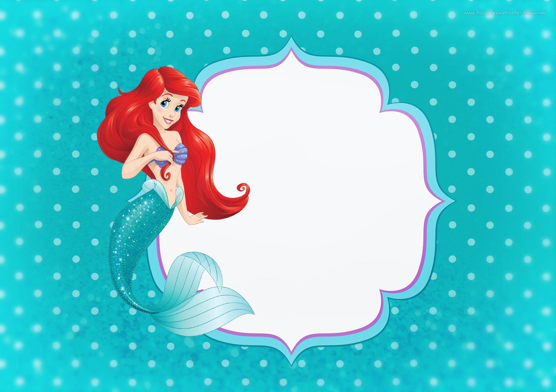 Convite Ou Moldura Pequena Sereia Ariel Festa Pequena Sereia