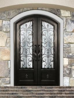 Orleans Double Iron Door With Eyebrow Top By Irondoors Features An Ornamental Dual Pane Watercube Gl