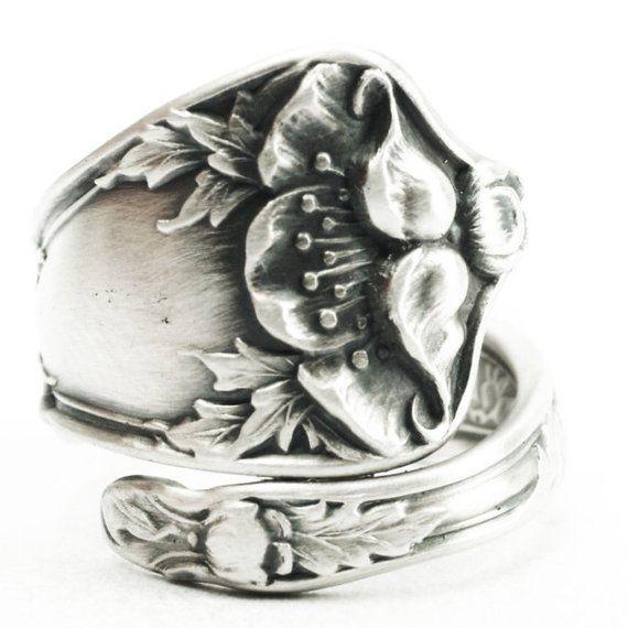 Art Nouveau Inspired California Poppy By Mason Larose: Petite Poppy Ring, Sterling Silver Spoon Ring, Art Nouveau