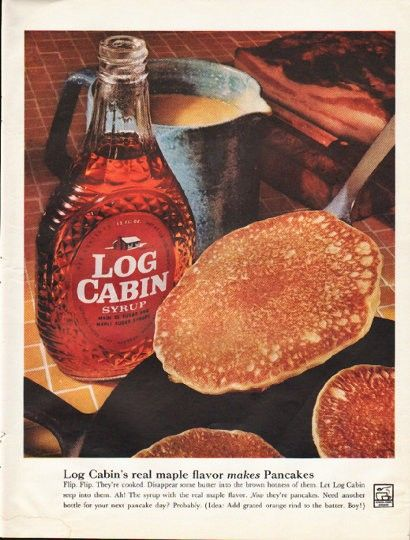 "1961 LOG CABIN SYRUP vintage magazine advertisement ""real maple flavor"" ~ Log…"