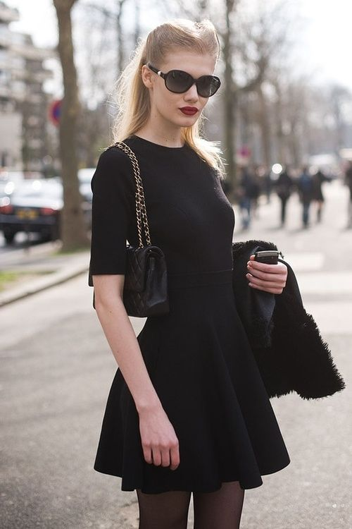 Paris fashion week: polished, chic, with a hint of retro. Reminds me a bit of Audrey Hepburn in Breakfast at Tiffany's.