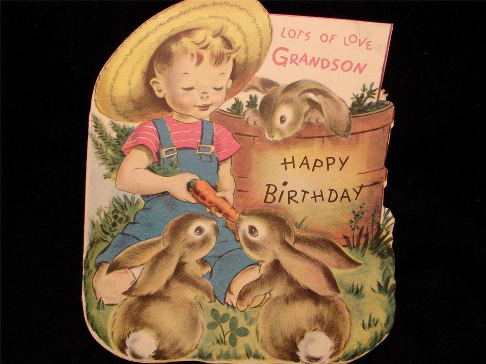 "VINTAGE ""LOTS OF LOVE GRANDSON!!"" BIRTHDAY GREETING CARD - NORCROSS"