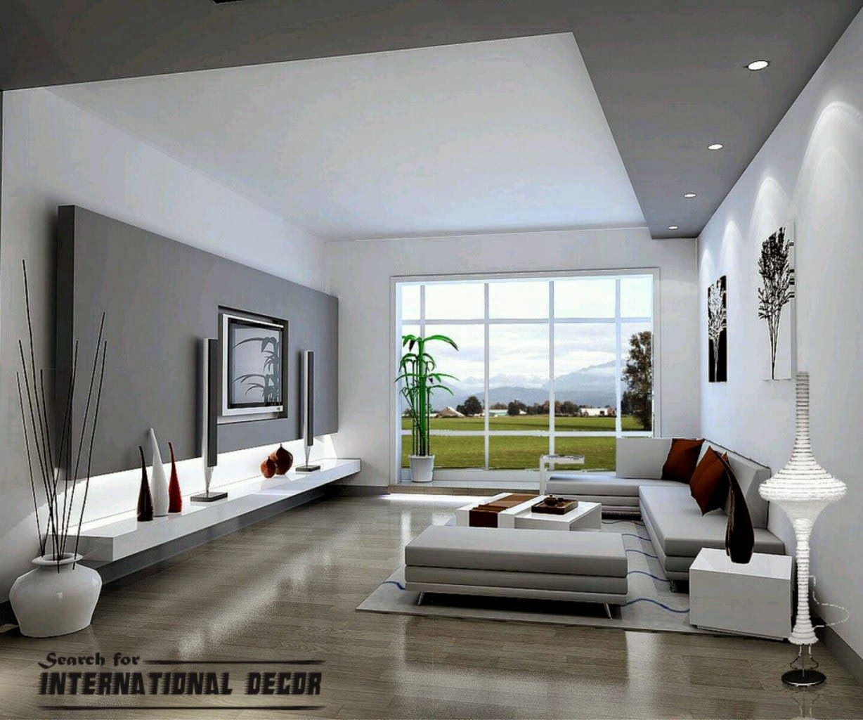 Modern living room decor and design paint part of ceiling to match silver travertine wall