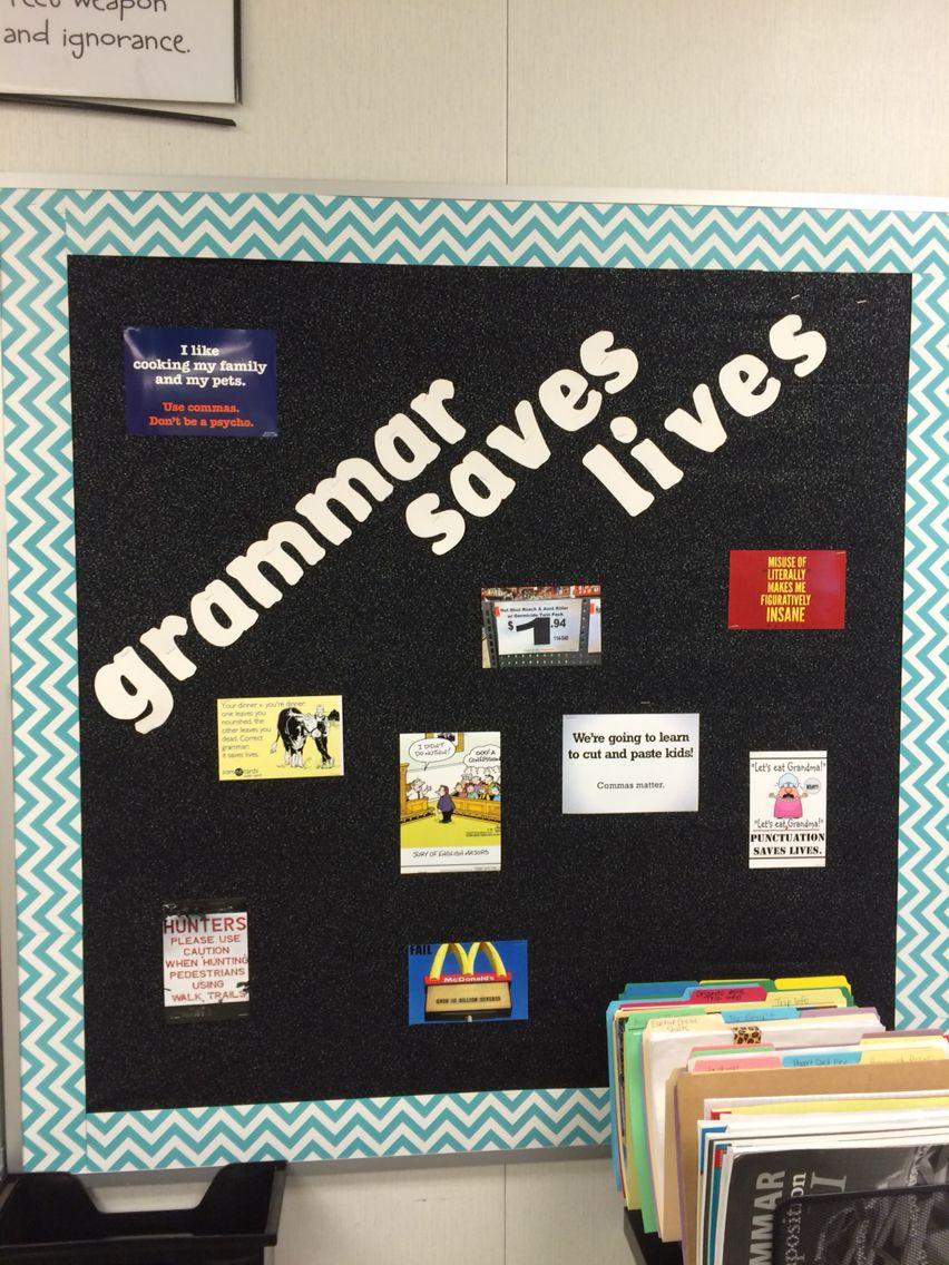 Classroom Bulletin Board Design For High School : Grammar saves lives middle school language arts classroom
