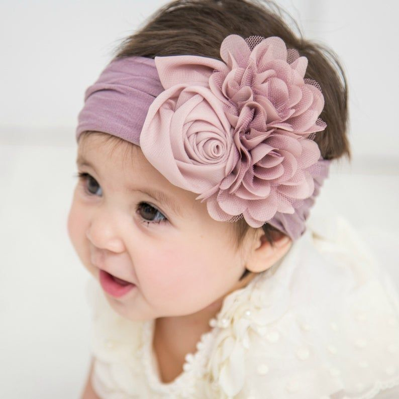 Baby headband, Floral nylon headbands, baby girl headbands, COUTURE NYLON Flower headband, head wraps baby toddler girls, baby headwraps