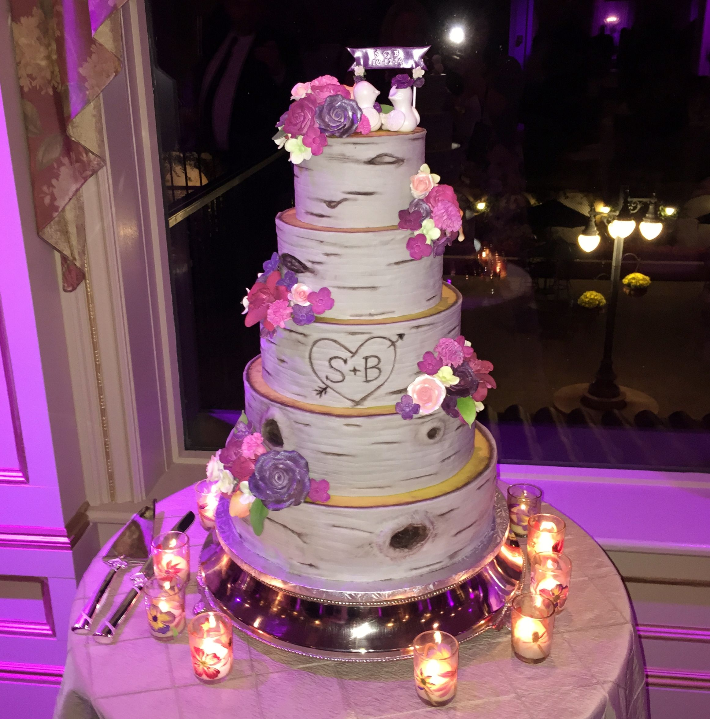 Engraved tree bark wedding cake by The Vintage Cake. Purple and ...