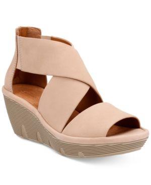 5265266cfd22 Clarks Artisan Women s Clarene Glamour Wedge Sandals - Tan Beige 6.5 ...