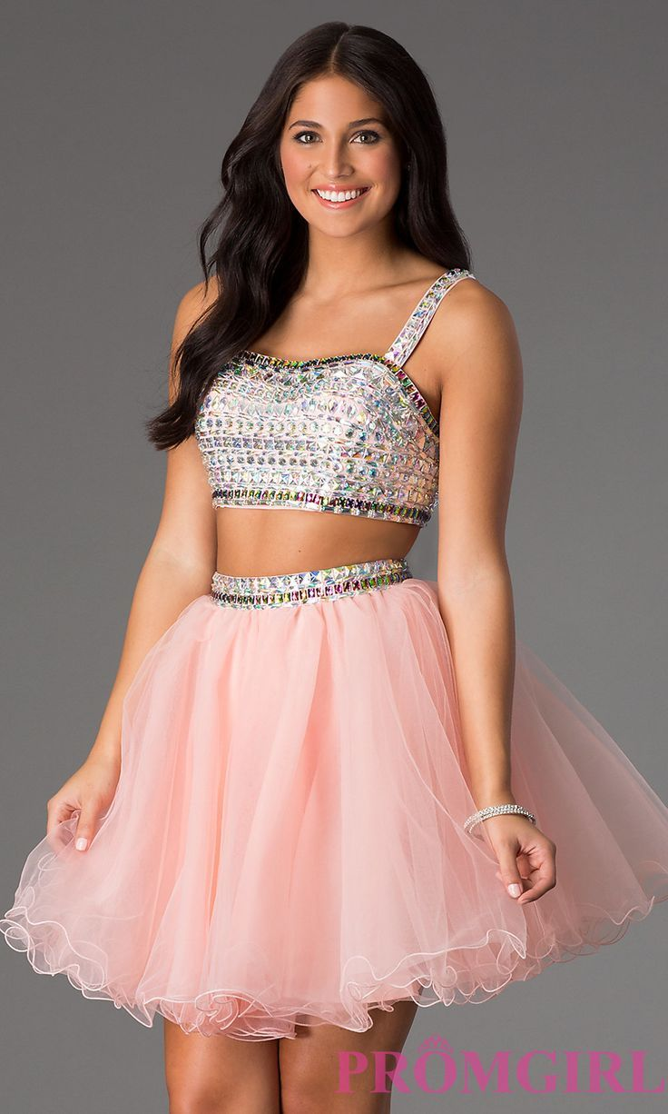 Two Piece Crop Top Short Prom Dress Style: NA-6031 Front Image ...