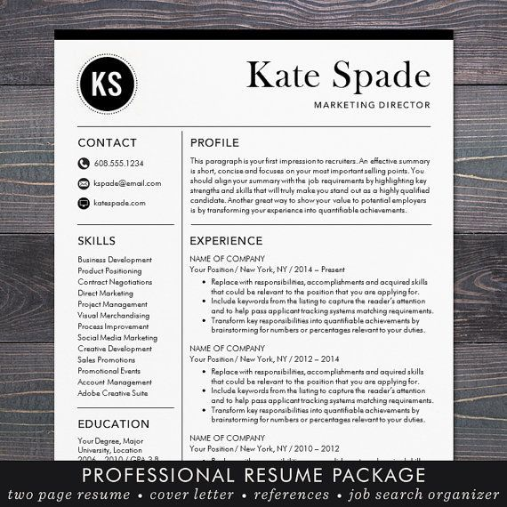 Professional Resume Template / CV Template + Free Cover Letter